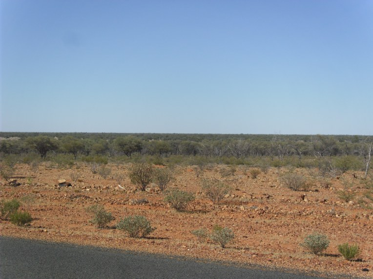 This photo depicts the view from atop the Lake Eyre Basin. It can be found not far from Stonehenge. No not that one, all though this one has the Over The Horizon Radar defence base at it.